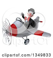 Clipart Of A 3d White And Black Clown Aviator Pilot Giving A Thumb Down And Flying A White And Red Airplane To The Left Royalty Free Illustration