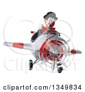 Clipart Of A 3d White And Black Clown Aviator Pilot Flying A White And Red Airplane Royalty Free Illustration
