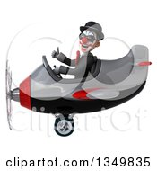Clipart Of A 3d White And Black Clown Aviator Pilot Wearing Sunglasses Giving A Thumb Up And Flying A Yellow Airplane To The Left Royalty Free Illustration