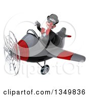 Clipart Of A 3d White And Black Clown Aviator Pilot Wearing Sunglasses Giving A Thumb Down And Flying A Yellow Airplane To The Left Royalty Free Illustration