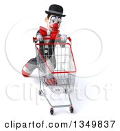 Clipart Of A 3d White And Black Clown Struggling With A Shopping Cart Royalty Free Illustration