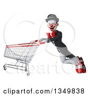 Clipart Of A 3d White And Black Clown Flying With A Shopping Cart Royalty Free Illustration