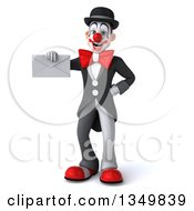Clipart Of A 3d White And Black Clown Holding An Envelope Royalty Free Illustration