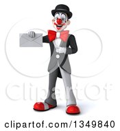 Clipart Of A 3d White And Black Clown Holding And Pointing To An Envelope Royalty Free Illustration