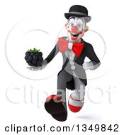 Clipart Of A 3d White And Black Clown Holding A Blackberry And Sprinting Royalty Free Illustration