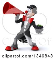 Clipart Of A 3d White And Black Clown Holding A Blackberry And Using A Megaphone Royalty Free Illustration