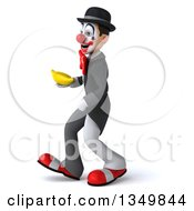Clipart Of A 3d White And Black Clown Holding A Banana And Walking To The Left Royalty Free Illustration