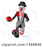 Clipart Of A 3d White And Black Clown Holding A Tomato And Sprinting Royalty Free Illustration by Julos