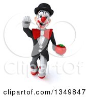 Clipart Of A 3d White And Black Clown Holding A Tomato And Flying Royalty Free Illustration by Julos