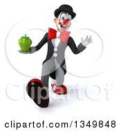 Clipart Of A 3d White And Black Clown Holding A Green Bell Pepper Walking And Waving Royalty Free Illustration