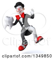 Clipart Of A 3d White And Black Clown Jumping And Holding A Tooth Royalty Free Illustration by Julos