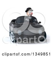 Clipart Of A 3d White And Black Clown Driving A Gray Convertible Car Royalty Free Illustration