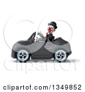 Clipart Of A 3d White And Black Clown Giving A Thumb Up And Driving A Gray Convertible Car To The Left Royalty Free Illustration