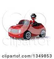 Clipart Of A 3d White And Black Clown Wearing Sunglasses And Driving A Red Convertible Car To The Left Royalty Free Illustration