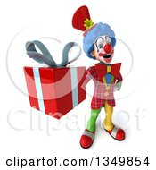 Clipart Of A 3d Colorful Clown Holding Up A Gift Royalty Free Illustration