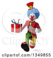 Clipart Of A 3d Colorful Clown Holding A Gift And Sprinting Royalty Free Illustration