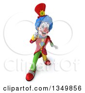 Clipart Of A 3d Colorful Clown Looking Up And Searching With A Magnifying Glass Royalty Free Illustration
