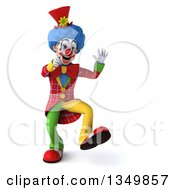 Clipart Of A 3d Colorful Clown Dancing And Searching With A Magnifying Glass Royalty Free Illustration