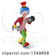 Clipart Of A 3d Colorful Clown Walking And Doing Bicep Curls With Dumbbells Royalty Free Illustration