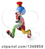 Clipart Of A 3d Colorful Clown Holding A Dumbbell And Sprinting To The Left Royalty Free Illustration