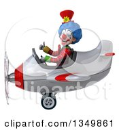 Clipart Of A 3d Colorful Clown Aviator Pilot Giving A Thumb Up And Flying A White And Red Airplane To The Left Royalty Free Illustration