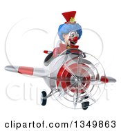 Clipart Of A 3d Colorful Clown Aviator Pilot Flying A White And Red Airplane Royalty Free Illustration
