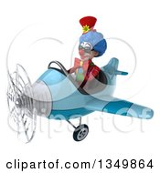 Clipart Of A 3d Colorful Clown Aviator Pilot Wearing Sunglasses And Flying A Blue Airplane To The Left Royalty Free Illustration