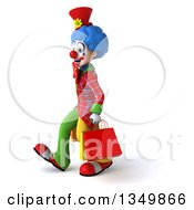 Clipart Of A 3d Colorful Clown Carrying Shopping Bags And Walking To The Left Royalty Free Illustration
