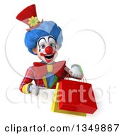 Clipart Of A 3d Colorful Clown Holding And Pointing To Shopping Bags Over A Sign Royalty Free Illustration