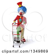 Clipart Of A 3d Colorful Clown Pushing A Shopping Cart Royalty Free Illustration