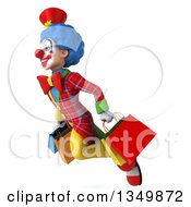 Clipart Of A 3d Colorful Clown Carrying Shopping Bags And Flying To The Left Royalty Free Illustration