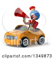 Clipart Of A 3d Colorful Clown Using A Megaphone And Driving An Orange Convertible Car To The Left Royalty Free Illustration