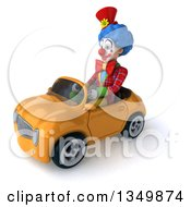 Clipart Of A 3d Colorful Clown Driving An Orange Convertible Car To The Left Royalty Free Illustration