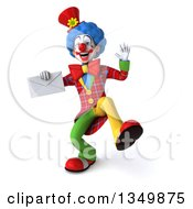 Clipart Of A 3d Colorful Clown Dancing And Holding An Envelope Royalty Free Illustration