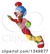 Clipart Of A 3d Colorful Clown Holding A Green Apple And Flying Royalty Free Illustration
