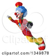 Clipart Of A 3d Colorful Clown Holding A Blackberry And Flying Royalty Free Illustration
