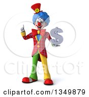 Clipart Of A 3d Colorful Clown Holding Up A Finger And A Dollar Currency Symbol Royalty Free Illustration by Julos