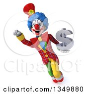 Clipart Of A 3d Colorful Clown Flying And Holding A Dollar Currency Symbol Royalty Free Illustration by Julos