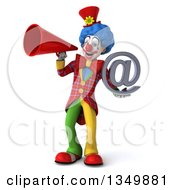 Clipart Of A 3d Colorful Clown Holding An Email Arobase At Symbol And Using A Megaphone Royalty Free Illustration by Julos