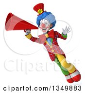Clipart Of A 3d Colorful Clown Waving Flying And Using A Megaphone Royalty Free Illustration
