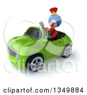 Clipart Of A 3d Colorful Clown Giving A Thumb Down And Driving A Green Convertible Car To The Left Royalty Free Illustration