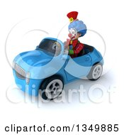 Clipart Of A 3d Colorful Clown Driving A Blue Convertible Car To The Left Royalty Free Illustration