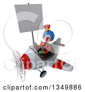 Clipart Of A 3d Colorful Clown Aviator Pilot Holding A Blank Sign And Flying A White And Red Airplane To The Left Royalty Free Illustration by Julos