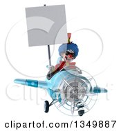 Clipart Of A 3d Colorful Clown Aviator Pilot Wearing Sunglasses Holding A Blank Sign And Flying A Blue Airplane Royalty Free Illustration by Julos