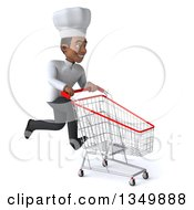 Clipart Of A 3d Young Black Male Chef Sprinting To The Right With A Shopping Cart Royalty Free Illustration