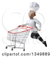 Clipart Of A 3d Young Black Male Chef Flying To The Left With A Shopping Cart Royalty Free Illustration