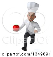 Clipart Of A 3d Young Black Male Chef Holding A Tomato And Sprinting Royalty Free Illustration