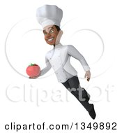Clipart Of A 3d Young Black Male Chef Holding A Tomato And Flying Royalty Free Illustration