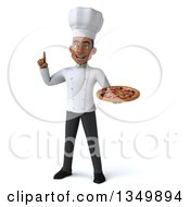 Clipart Of A 3d Young Black Male Chef Holding Up A Finger And A Pizza Royalty Free Illustration by Julos