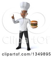 Clipart Of A 3d Young Black Male Chef Holding Up A Finger And A Double Cheeseburger Royalty Free Illustration by Julos